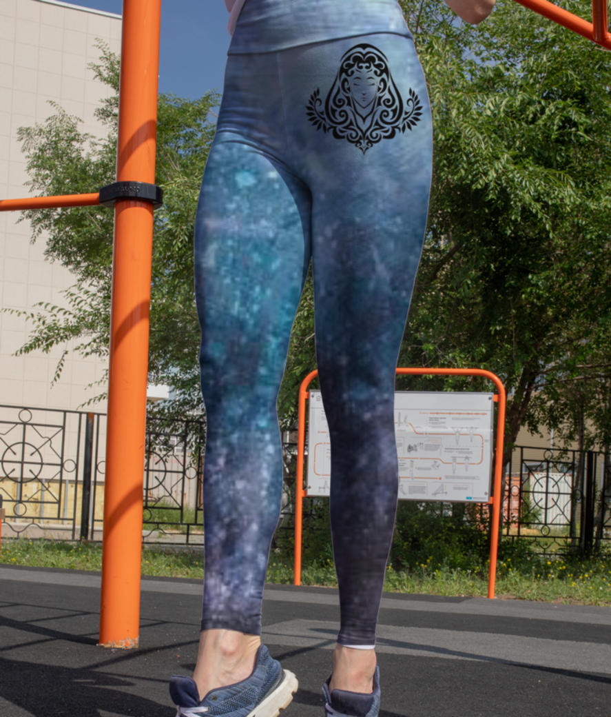 Virgo background leggings front