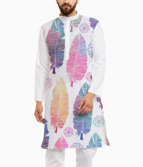 Feather pattern kurta front