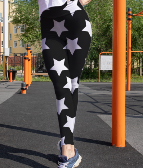 Black  white stars leggings front