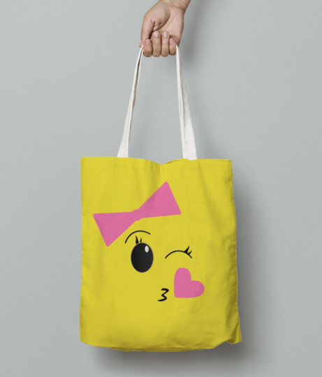 Blushy girl with transparent tote bag front