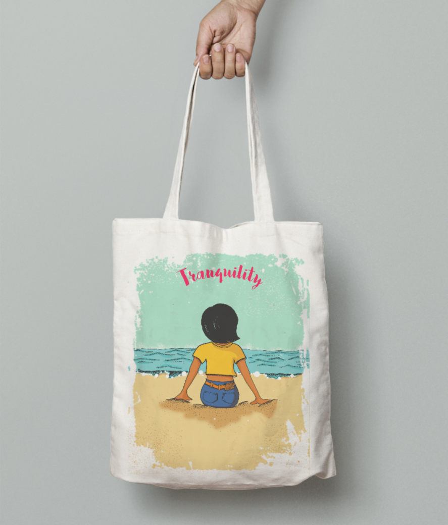 Zooey tranquil 3 tote bag front