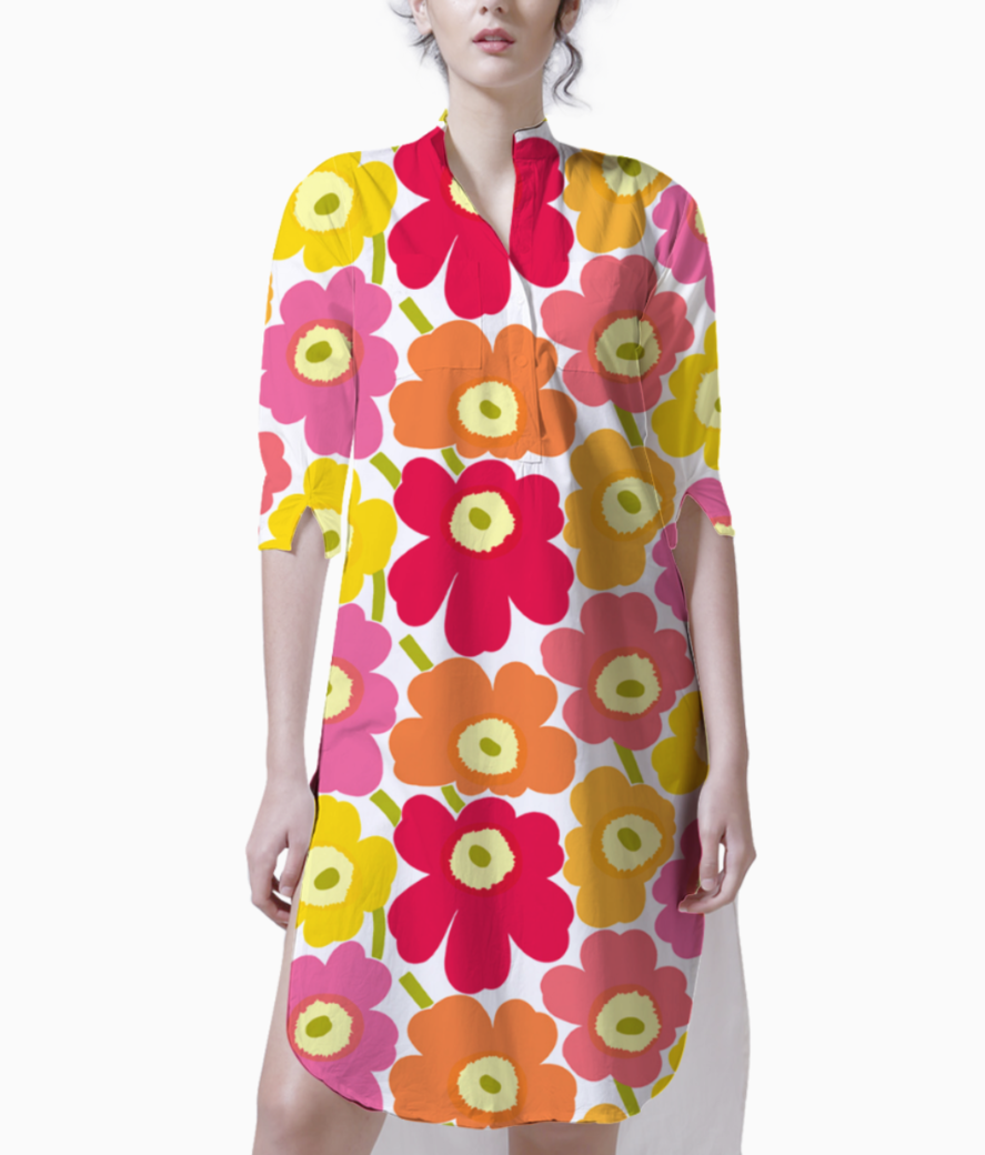 Marimekko pieni unikko 2 yellow orange pink fabric 22 kurti front
