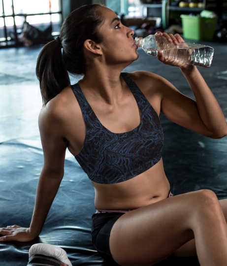 Bluish waves sports bra front