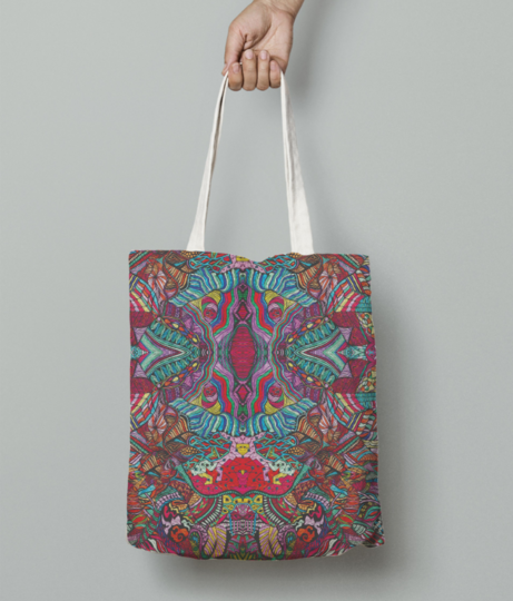 Abstract kaleidescope tote bag front
