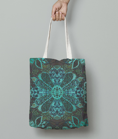 Neon flower tote bag front