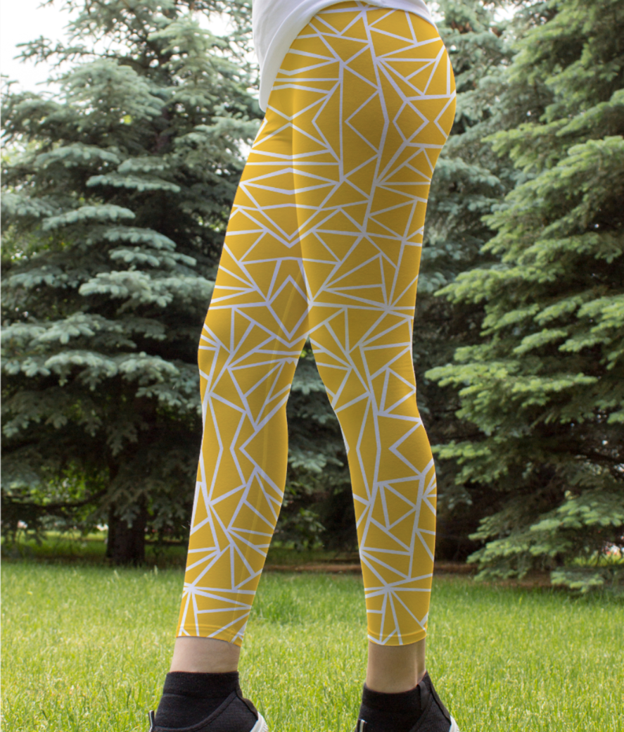 Abstract yellow mustard white geometric and vector 20461419 leggings front