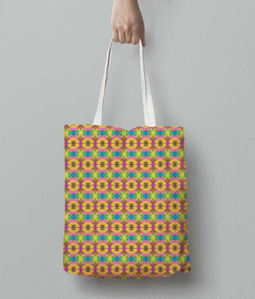 Yellow spark tote bag back