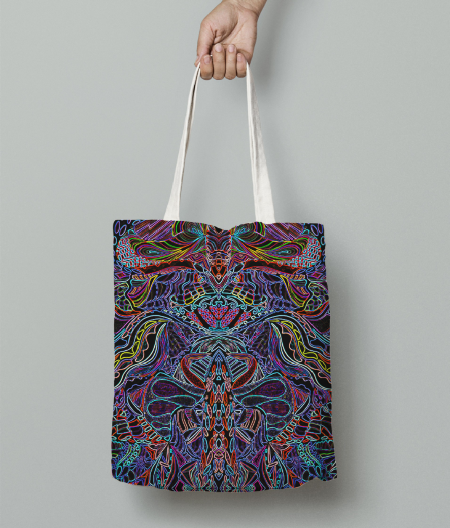 Abstract blue jungle evo tote bag front