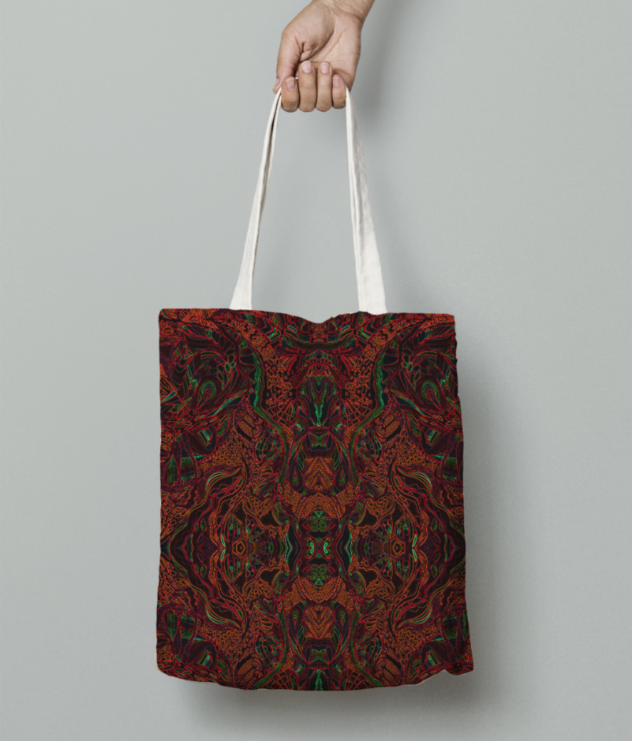 Abstract firered evolve tote bag front