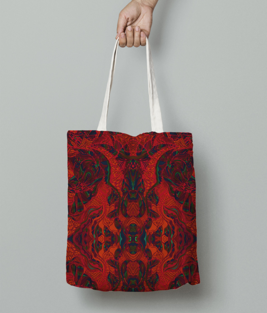 Abstract firered tote bag front