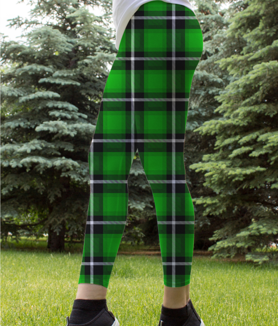 Green scottish tartan leggings front