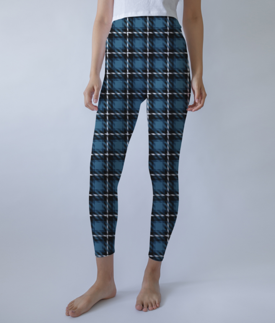 Stone scottish tartan leggings front