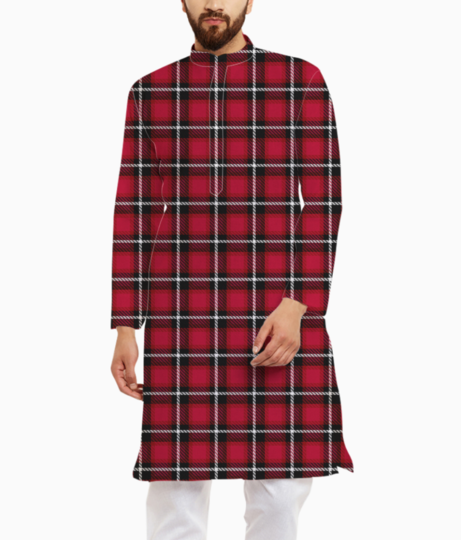 Red scottish tartan kurta front