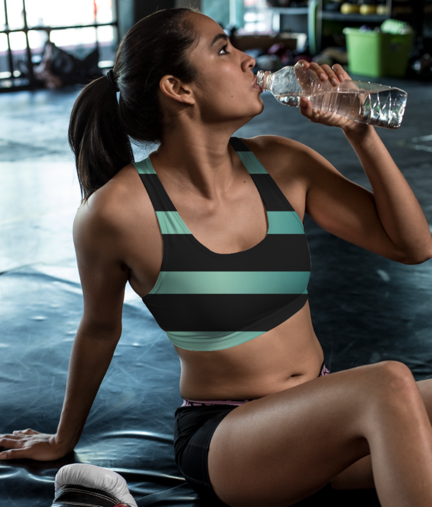 Jade stripe sports bra front