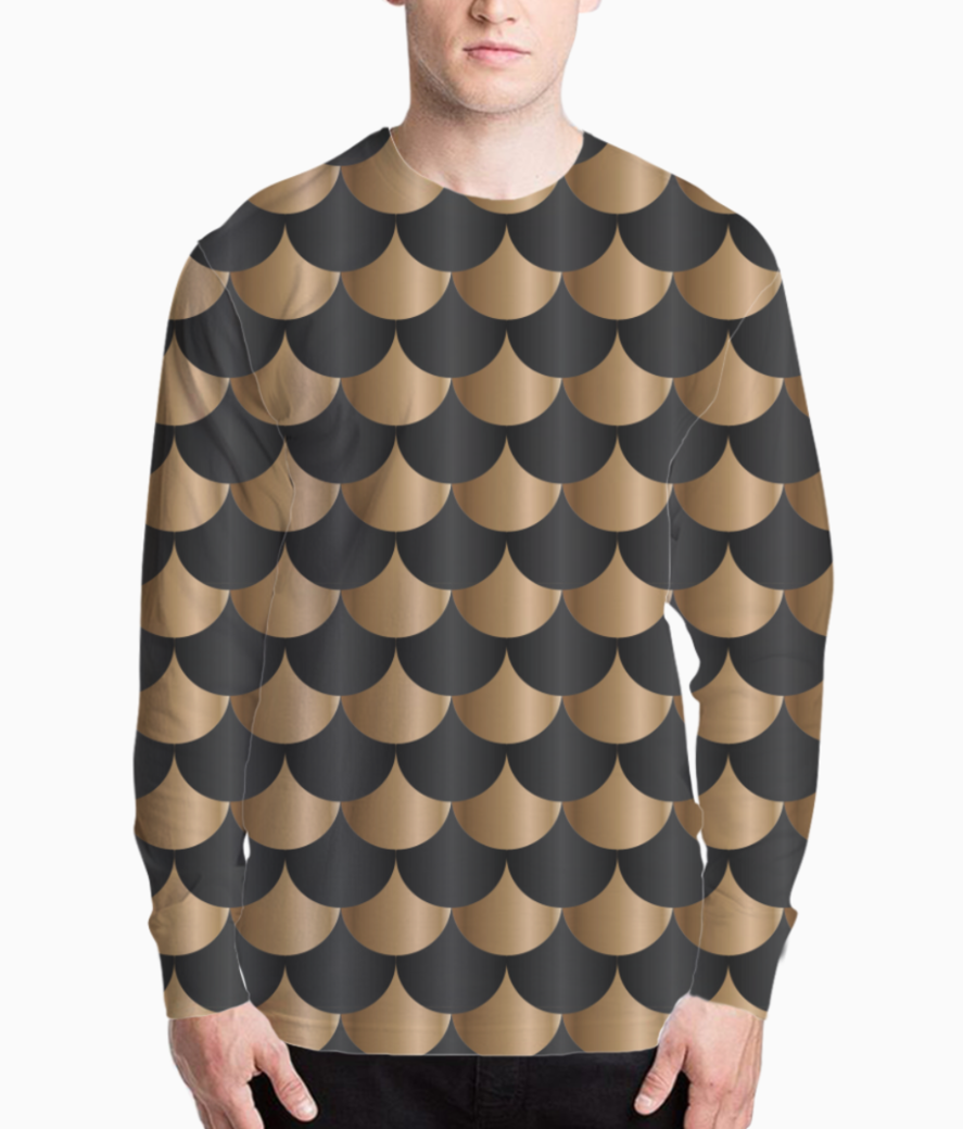 Black and copper mermaid pattern henley front
