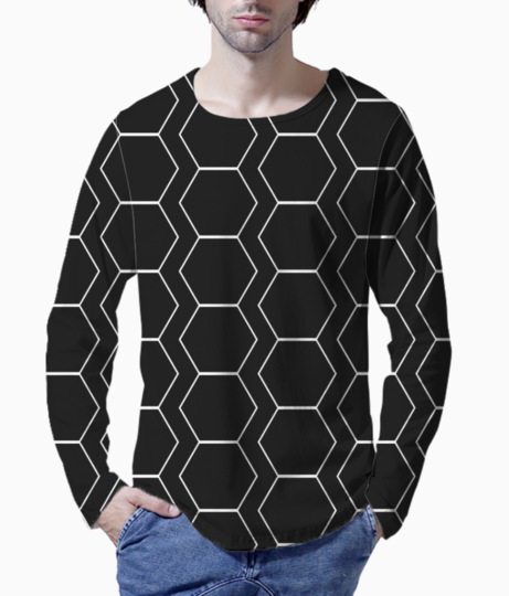 Black  white hexagen henley front