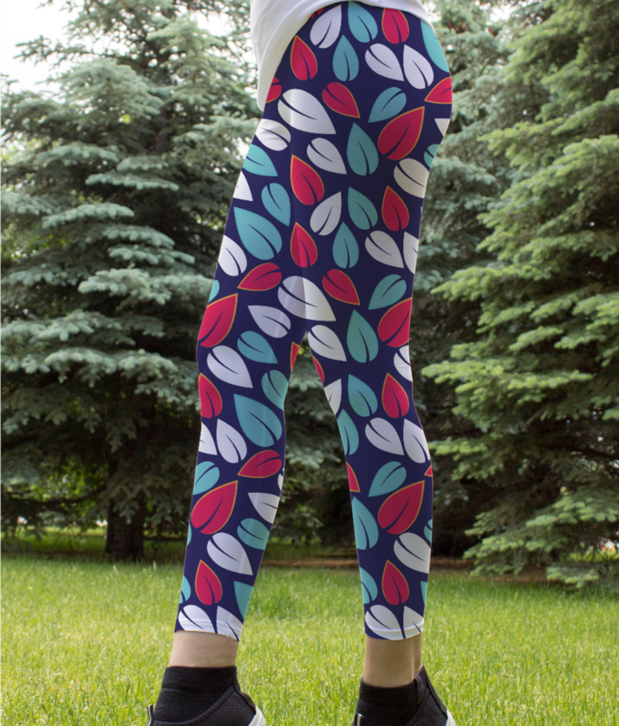 Muticolor leafs leggings front