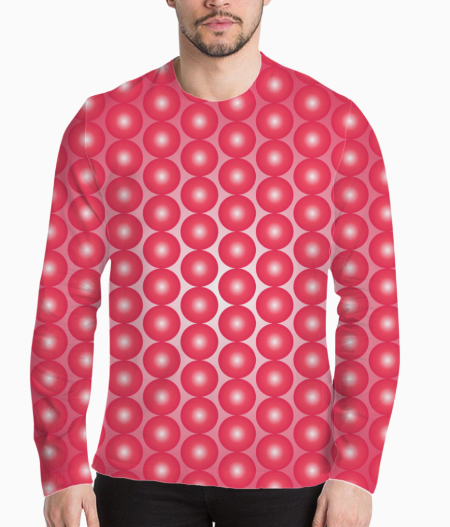 Red pearl pattern henley front