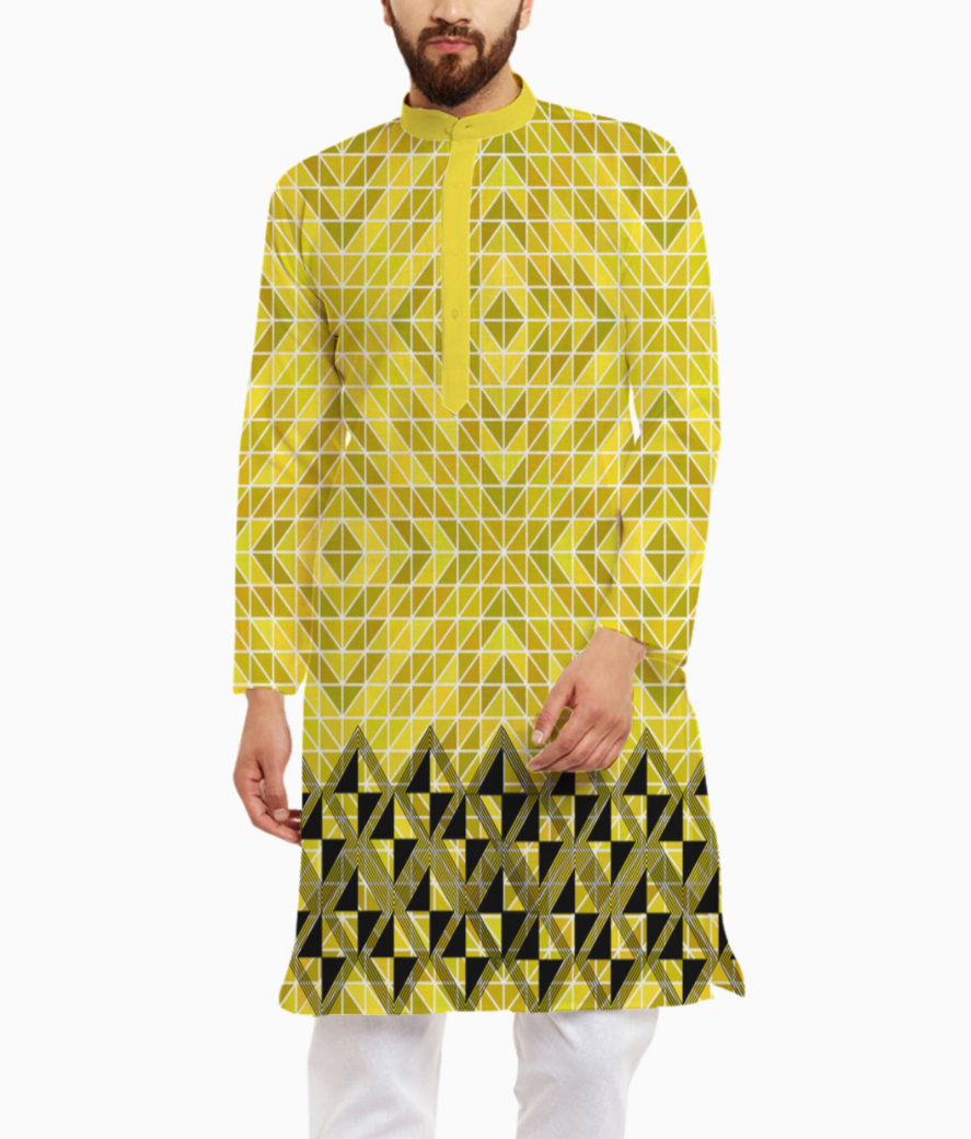 Pattern yellow kurta front