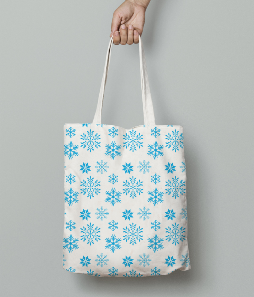Snow flakes tote bag front