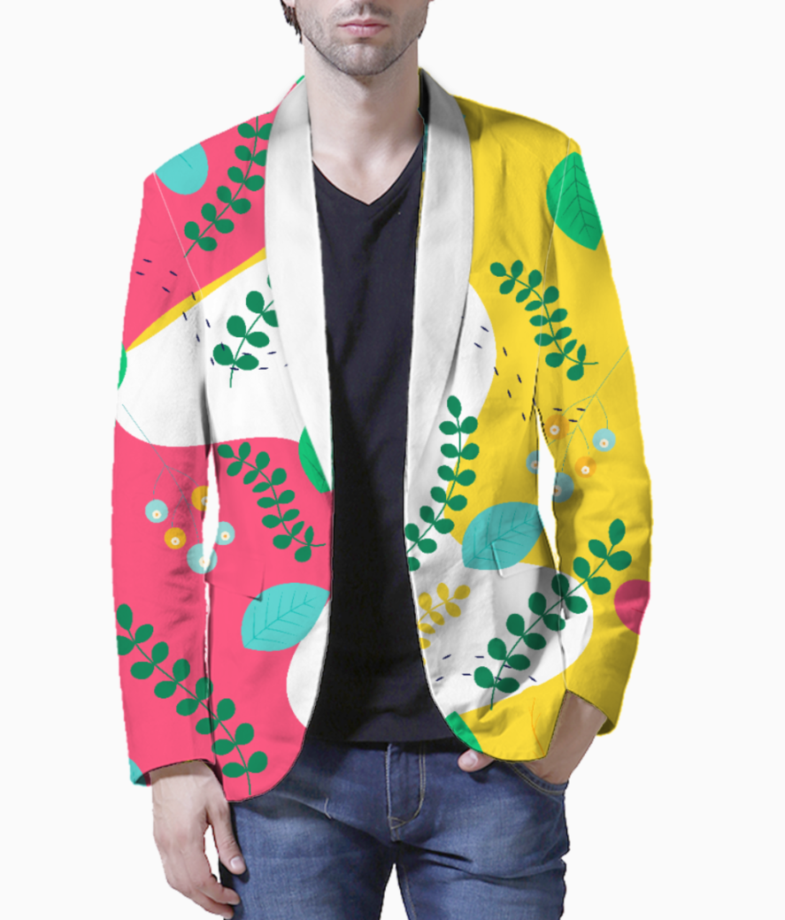 Abstract floral pattern blazer front