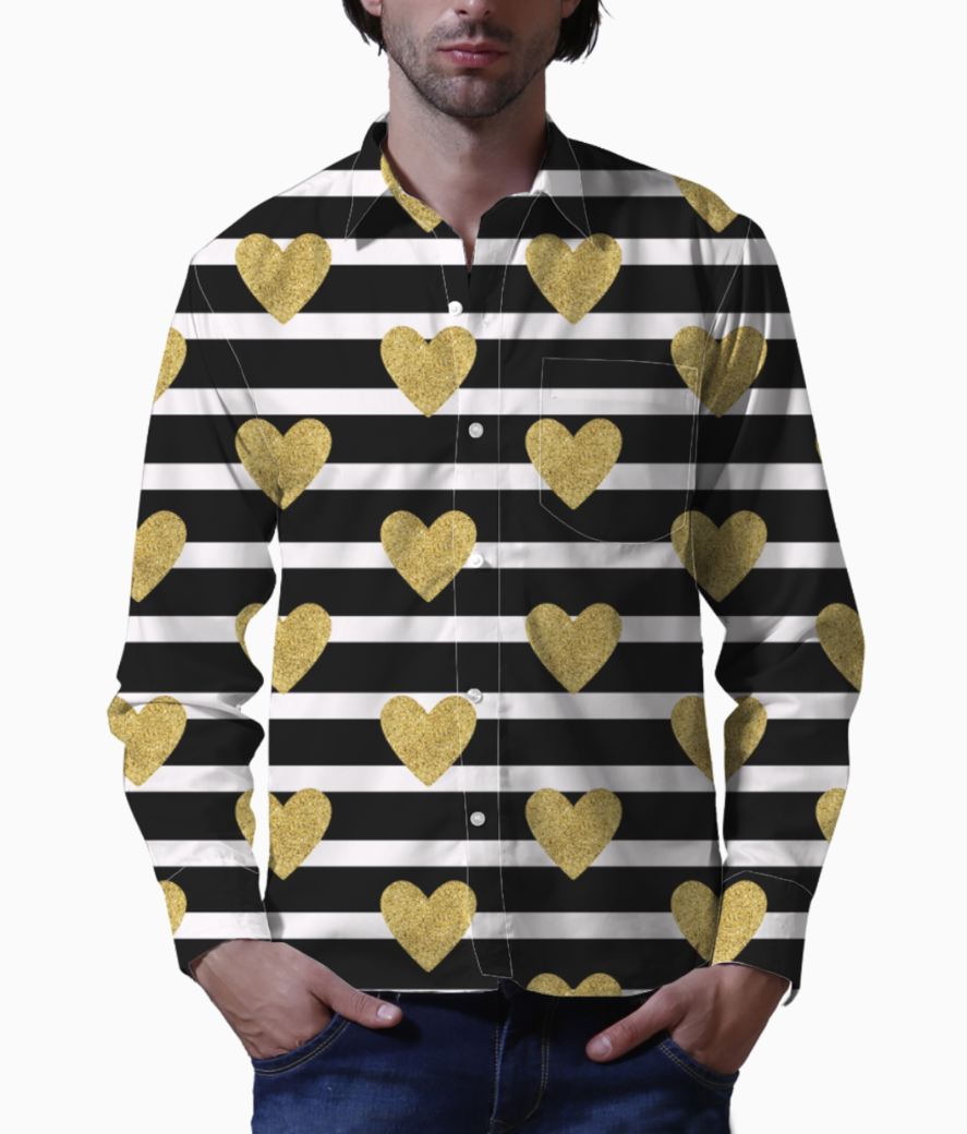 Black stripes with golden hearts basic shirt front