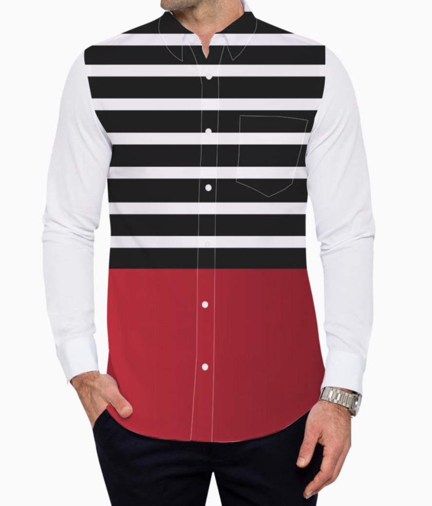 Black   white stripes with red gradient patch basic shirt front