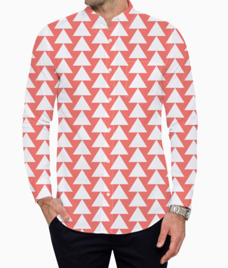 Living coral  white triangle basic shirt front