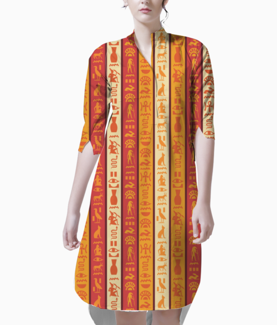 Egyptian pattern stripes kurti front