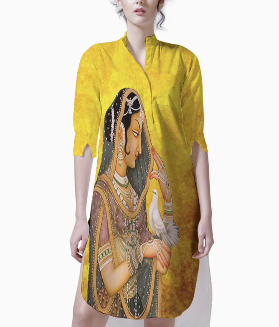 Mughal art orange background kurti front