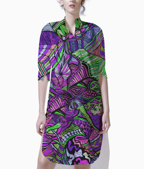 Abstract kaleidescope purple 1 kurti front