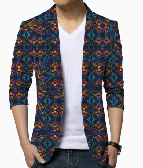 Swirly blue blazer front