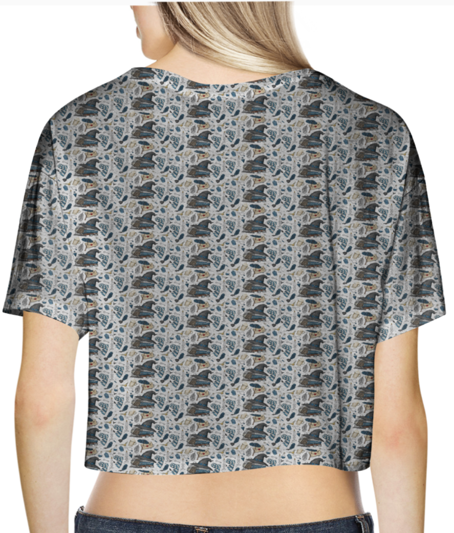 Wizards and magic pattern crop top back