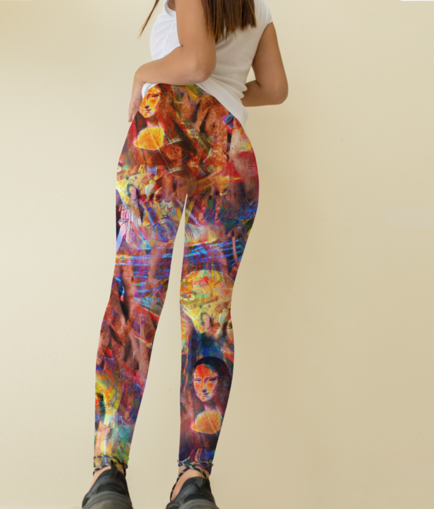 Red art spicy leggings back