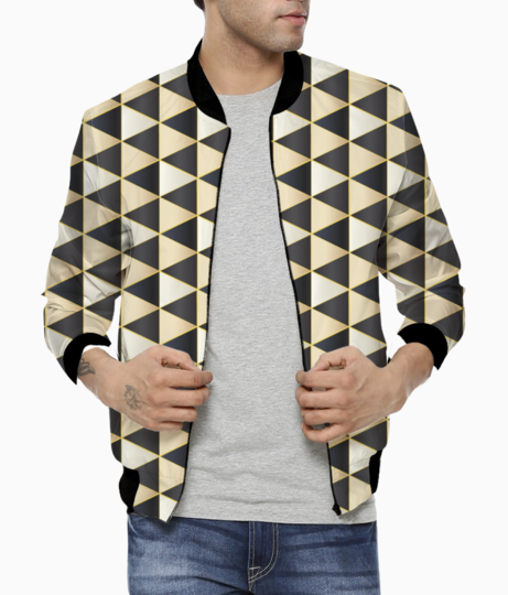 Golden ethnic hexagon art bomber front