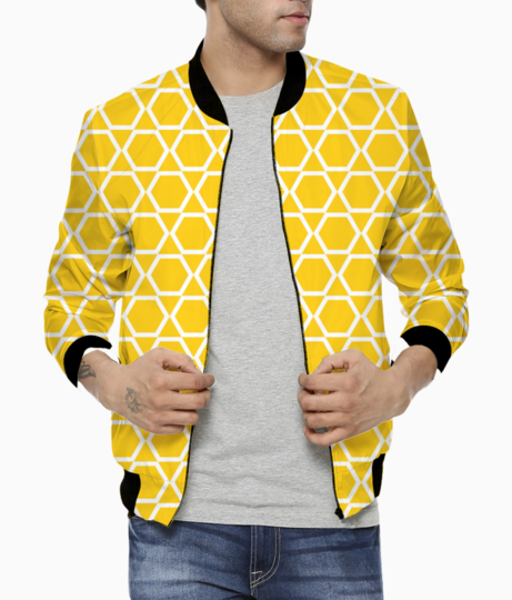 Yellow islam art tribal pattern bomber front