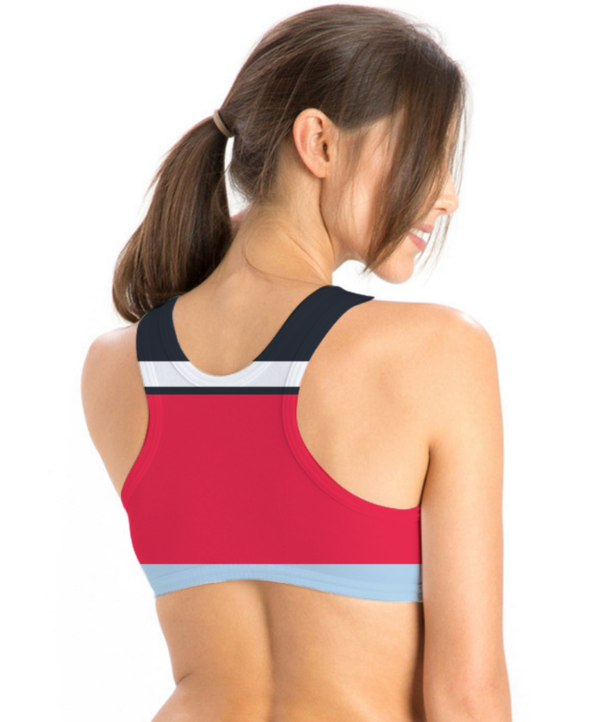 Flat casual stripes sports bra back