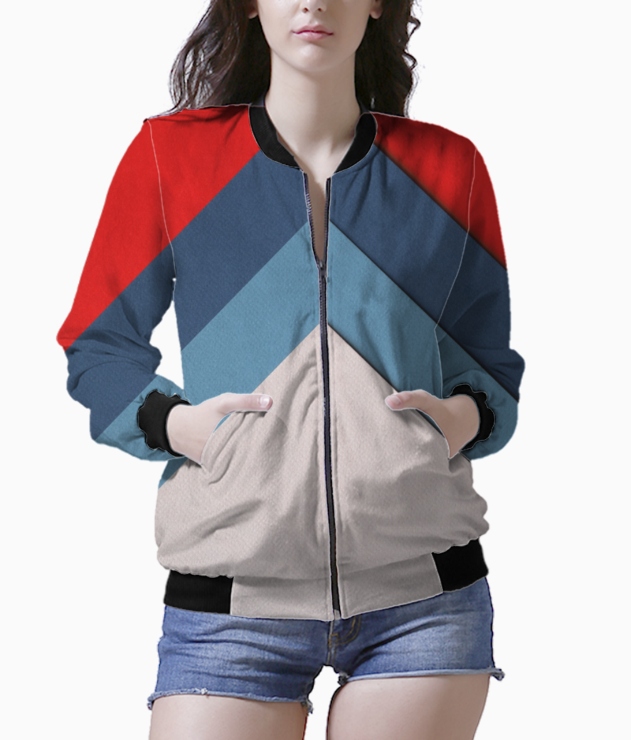 Color block bomber front