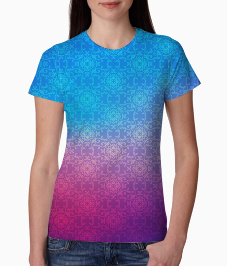 Blue pink shade tee front