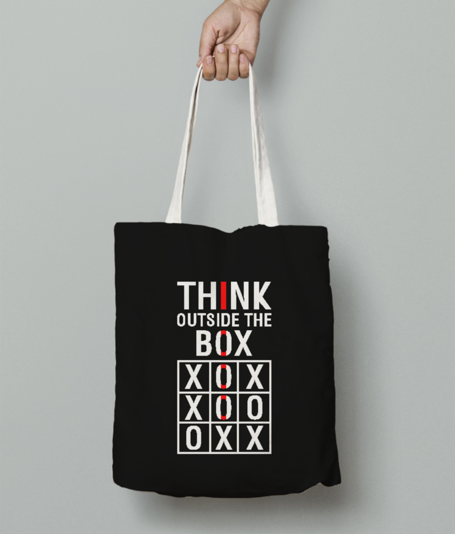 Think outside tote bag front
