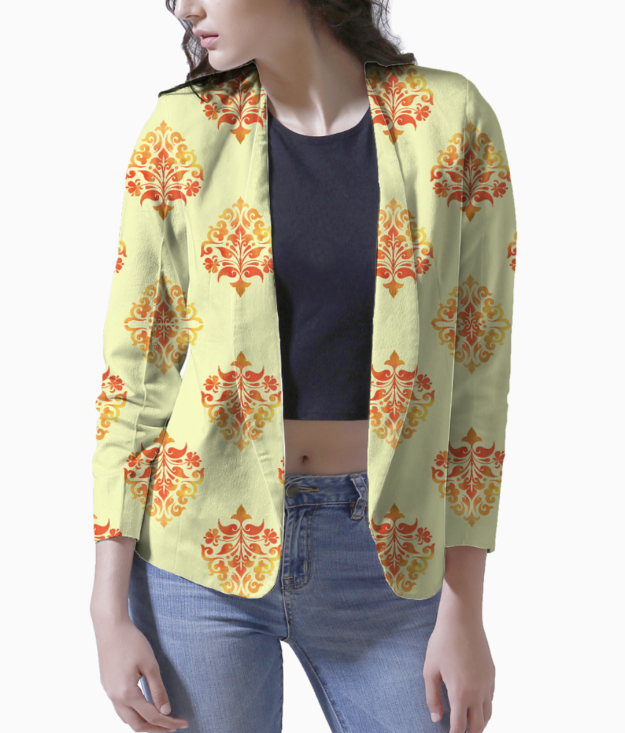 Yellow orange pattern blazer front