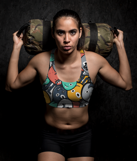 Colorful monsters sports bra front