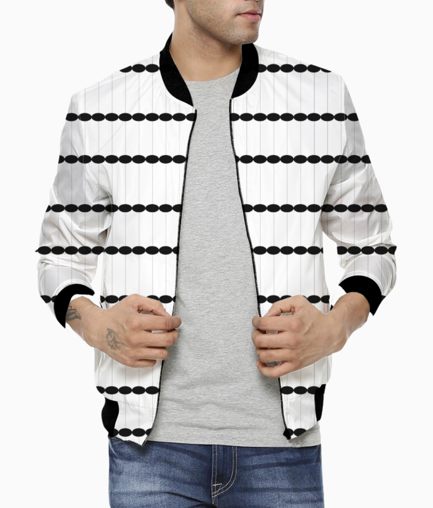 Dots black   white seamless pattern bomber front