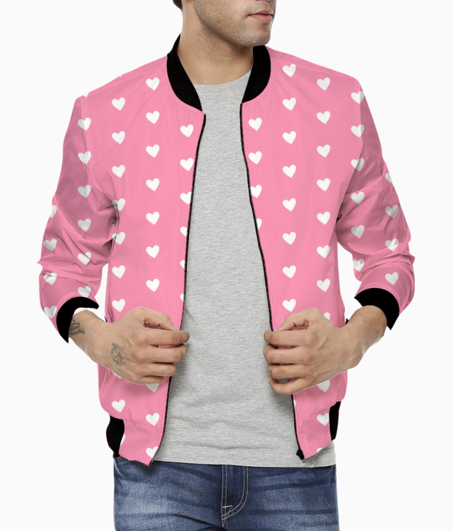 Flamingo pink heart shape pattern bomber front