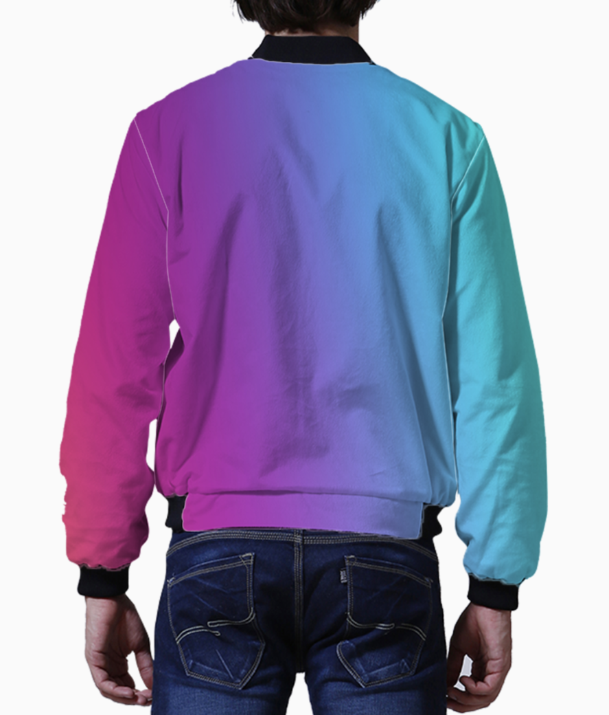 Multicolor abstract bomber back
