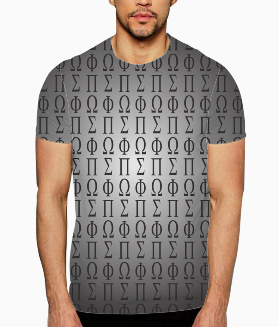 Seamless pattern with letters of the greek alphabet t shirt front