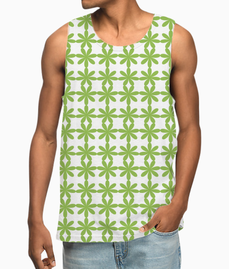 Abstract green flower seamless pattern vest front