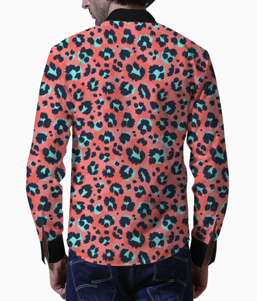 Leopard pattern design funny drawing seamless pattern 10083 653 basic shirt back