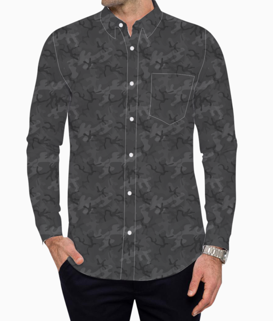 Grey camouflage basic shirt front