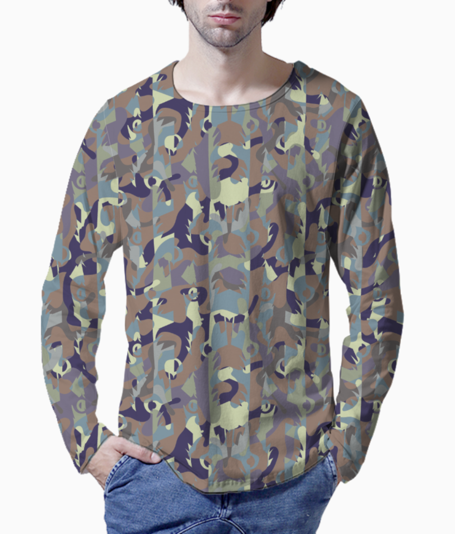 Camouflaged bamboo forest henley front